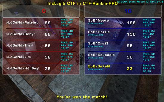 Match »LèGéNd« vs SoB  Tuesday 27 January  2009  21:00 hours CET (iCTF Ladder 5 vs 5) SoBvsLegendRankin2701